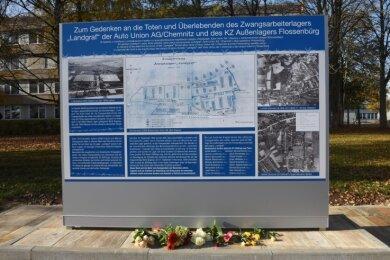 Im Zweiten Weltkrieg waren auf dem später neu bebauten Areal Zwangsarbeiter untergebracht. Eine Tafel erinnert daran.