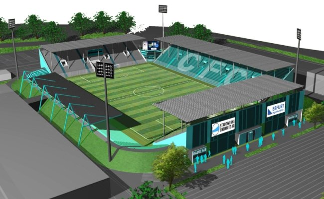 So könnte das Stadion des Chemnitzer FC nach einem Entwurf von 2009 in etwa zehn Jahren aussehen. Die Zuschauerränge wären fast komplett überdacht. Geschätzte Kosten für den Umbau: reichlich 15 Millionen Euro.