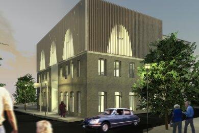 So sieht der leicht überarbeitete Gestaltungsentwurf zum künftigen Ellefelder Bürgerzentrum aus. Im Obergeschoss soll ein großer Saal Platz finden. Doch bei einigen Räten stoßen die geraden Wände auf Ablehnung, sie wünschen sich schräge Dachflächen.
