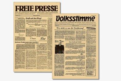 """Die ersten beiden Ausgaben von """"Freie Presse"""" und """"Volksstimme"""" vom 20. Mai 1946."""
