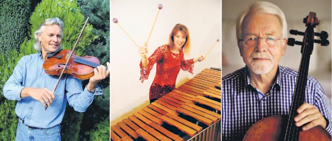 Hermann Meyer (Violoncello) hat im Herrenhof ein Heimspiel. Mit ihm musizieren Babette Haag (Marimba) und Hardy Wenzel (Viola).