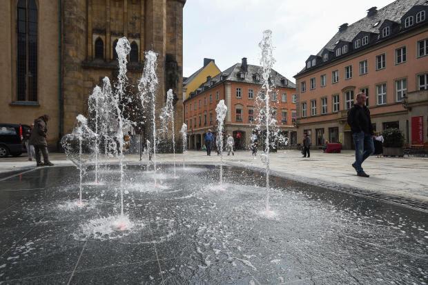 Das neue Wasserspiel an der Inneren Klosterstraße.