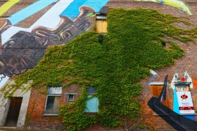 So wie hier auf der Ziegelwand der Kulturweberei sollten eigentlich fünf Kunstwerke im Stadtgebiet entstehen.
