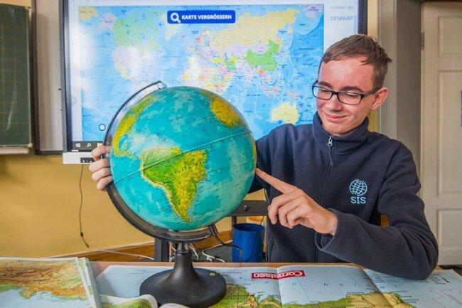Leon Gester von der Internationalen Oberschule Niederwürschnitz gewann bei der 15. Sächsischen Geografieolympiade 2021.
