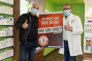Volker Hoff (rechts) macht sich gemeinsam mit Rigo Reuter, Chef des Gewerbeverbundes, für den Handel in Werdau stark.