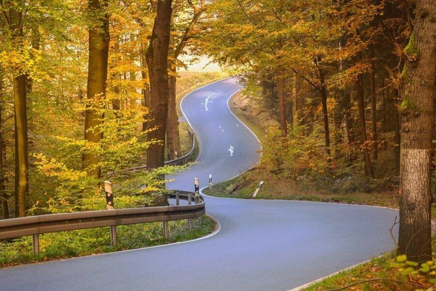 Kurvige Landstraße durch die Sächsische Schweiz: Die Perfektion wird nur durch vergossene Risse im Asphalt geschmälert.