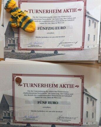 Die Turnerheim-Aktien gibt es in vier Stückelungen.