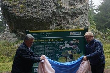 Bürgermeister Jürgen Mann (links) aus Muldenhammer und sein Amtskollege Marco Siegemund aus Falkenstein.
