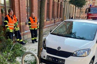 Die Einsatzkräfte mussten nach einem Unfall Betriebsmittel binden und Baumreste entfernen.