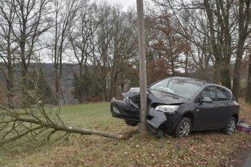 Gegen einen Strommast und einen Baum prallte dieser Opel am Samstag bei Hohenfichte.