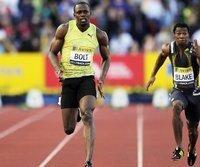 Usain Bolt (l.) und Trainingspartner Yohan Blake (r.)