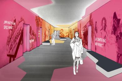 Dieses Konzept - hier der Eingangsbereich - ist einst als Vision von Kocmoc erdacht worden: viel pink, viel orange. Die gesamte Ausstellung wird auf etwa 500 Quadratmeter zu sehen sein - zusätzlich natürlich noch die original erhaltenen Zellen, die im Rahmen von Führungen zu besichtigen sind.