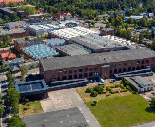 Blick auf das Gelände der zentralen Landesausstellung an der Audistraße in Zwickau aus der Vogelperspektive.