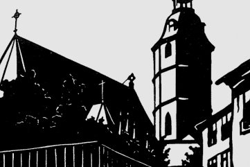 Malerische Ansichten seiner Heimatstadt, wie hier der Blick vom Pfarrberg zur Stadtkirche, wurden auf Postkarten gedruckt.