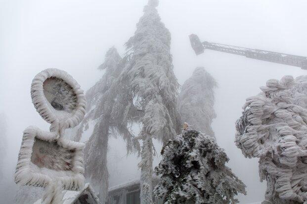Gefahr im oberen Erzgebirge - Bäume brechen unter Eislast