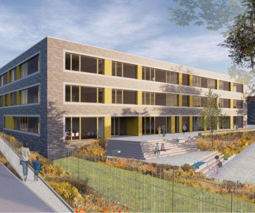 So soll die künftige Grundschule am südlichen Sonnenberg einmal aussehen. Der Baustart ist für den Sommer geplant. Bereits ein Jahr später soll der Bau genutzt werden können.