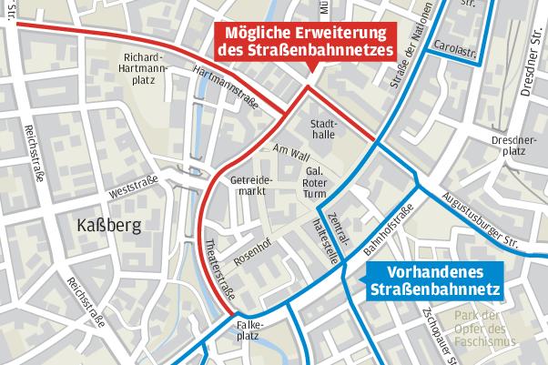 Hier soll der City-Ring der Chemnitzer Tram entstehen