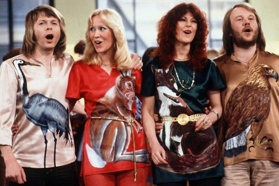 Die schwedische Popgruppe Abba mit Björn Ulvaeus, Agnetha Fältskog, Anni-Frid Lyngstad und Benny Andersson (von links), hier bei einem TV-Auftritt 1978, steht für Welthits am laufenden Band.