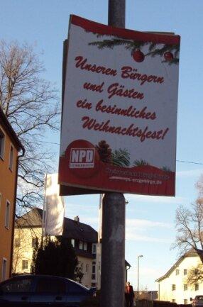 """<p class=""""artikelinhalt"""">NPD-Plakate sorgen in Schneeberg für Verärgerung.</p>"""