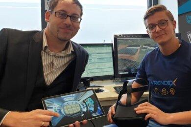 Manuel Dudczig und Leon Langhans entwickeln in ihrer Firma Vrendex 360-Grad-Videos, die unter anderem noch nicht in der Realität vorhandene Maschinen und deren Wirkweise zeigen sowie auch virtuelle Schulungen, in denen man sich mitten im Geschehen wähnt.