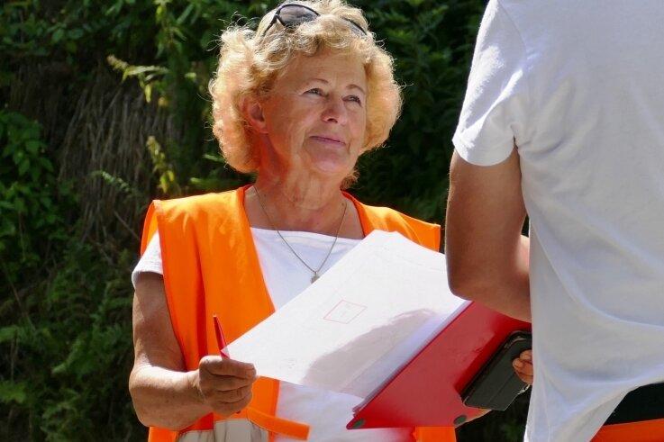 Sabine Hoheisel bei einer ihrer letzten Baubesprechungen.