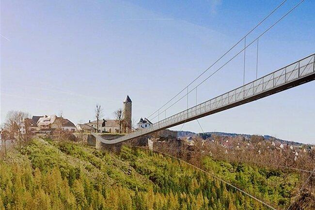 So könnte die 720 Meter lange Brücke über das oberfränkische Höllental in drei, vier Jahren aussehen - im Hintergrund die Stadt Lichtenberg. Einen Großteil der Kosten in Höhe von veranschlagten zwölf Millionen Euro würde der Freistaat Bayern übernehmen - etwa 80 Prozent.