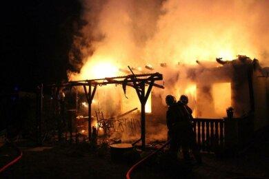 Helfer aus der Freiwilligen Feuerwehr in Crimmitschau haben in der Nacht zum Dienstag und in der Nacht zum Mittwoch jeweils einen Brand in der Kleingartenanlage an der Breitscheidstraße gelöscht.