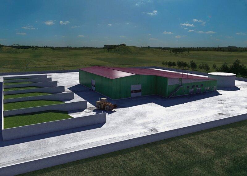 """<p class=""""artikelinhalt"""">Die Biogasanlage im Modell. Links befinden sich sechs sogenannte Goremieten für die Kompostierung. In dem höheren Teil des Gebäudes ist die Annahmestelle untergebracht. Dorthin werden die Biostoffe angeliefert. Die eigentliche Vergasung findet in dem flacheren Gebäudeteil daneben statt. </p>"""