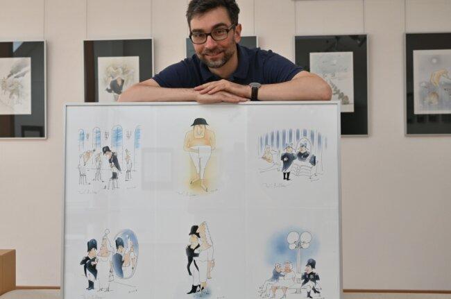 Galerieleiter Alexander Stoll verlängert die Ausstellung des bekannten Eulenspiegel-Karikaturisten Werner Rollow .