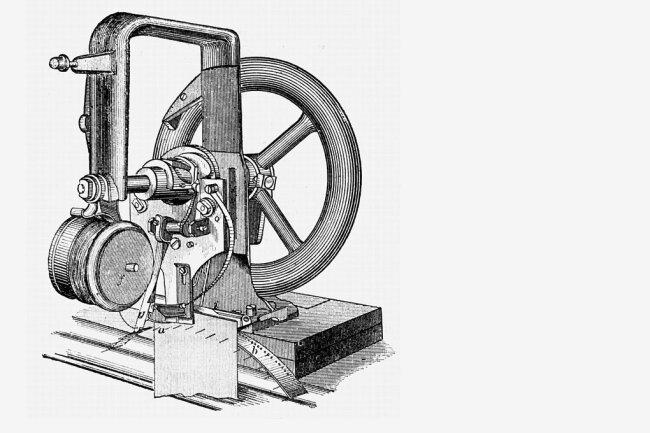 Die von Elias Howe erfundene Nähmaschine.
