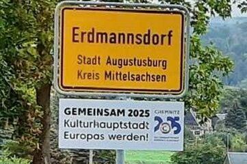Die Zusatzschilder zur Unterstützung der Kulturhauptstadt-Bewerbung in Augustusburg sind wieder weg.