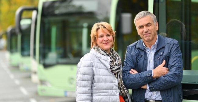 Der Reichenbacher Verkehrsbetrieb Gerlach, im Bild die Geschäftsführer Siegfried Gerlach und Tochter Diana Gerlach, steigt zum Jahresende als Subunternehmer aus dem Vogtlandnetz 2019+ aus.