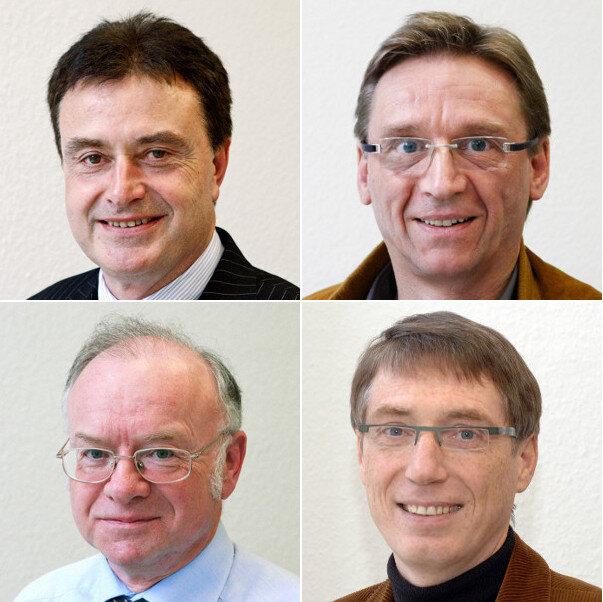 Oben: Dr. Thomas Hertel und Dr. Hans-Joachim Kruse, unten: Dr. Andreas Liebert und Dr. Lutz Forkmann
