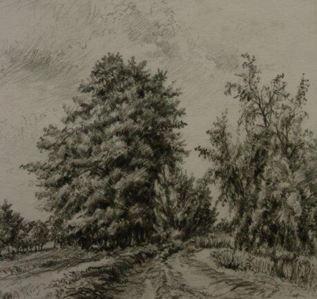 Landschaftsbilder wie dieses gehörten zum Schaffen Johannes Borges. Einige davon lieferten auch Vorlagen für Arbeiten in Farbe.