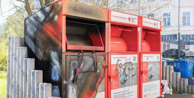 Am 9. Mai stand der Container in der Ehernen Schlange in Freiberg in Flammen.