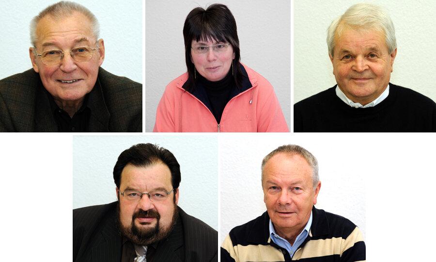 Die Experten: Oben: Claus Bischoff, Antje Melzer und Gerhard Kästner. Unten: Ulrich Lange undJoachim Wierick.