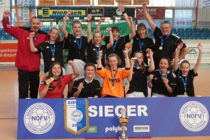 Nordostdeutscher Futsal-Meister 2020: Die B-Juniorinnen des DFC.