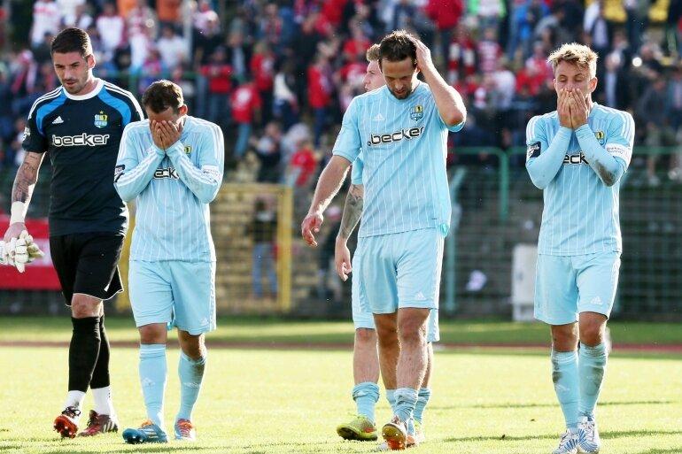 Enttäuschung pur bei den Chemnitzern Philipp Pentke, Anton Fink, Marc Endres und Fabian Stenzel (von links).