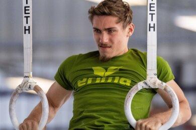 Kraftpaket Nick Klessing beim Training: An den Ringen hat er bisher seine größten Erfolge gefeiert.