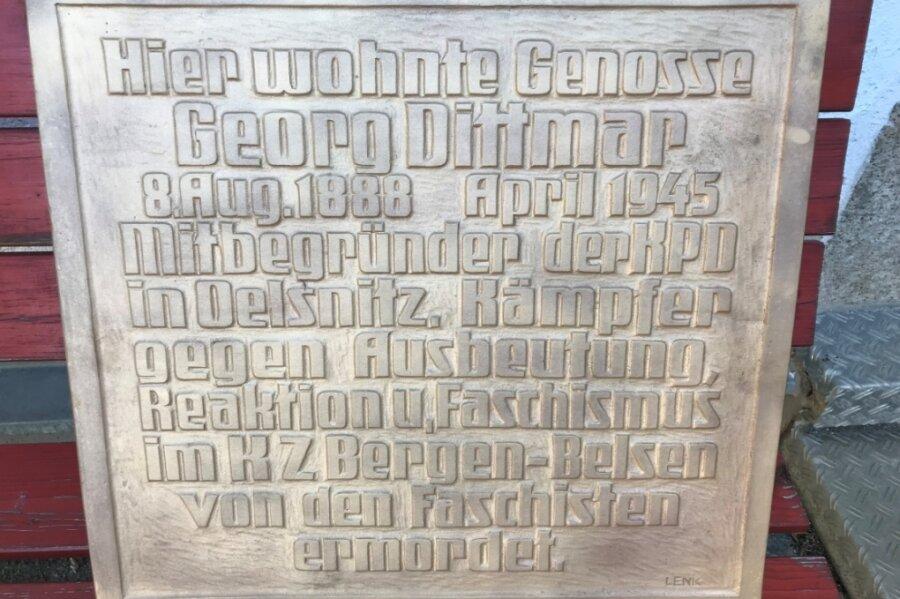 Die Gedenktafel für Georg Dittmar (1888 bis 1945) wird am heutigen Freitag in Oelsnitz enthüllt.