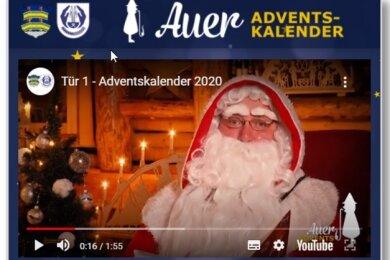 Klickt man auf das tagesaktuelle Türchen des Auer Online-Adventskalenders läuft ein kurzer Film ab.