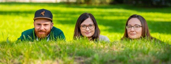 Martin Sterzel, Dajana Conrad und Christina Militzer (von links) beraten Hochschulangehörige, die gern ein eigenes Unternehmen gründen möchten. Unter dem Namen Saxeed arbeitet das Trio im Verbund mit drei weiteren sächsischen Hochschulen.