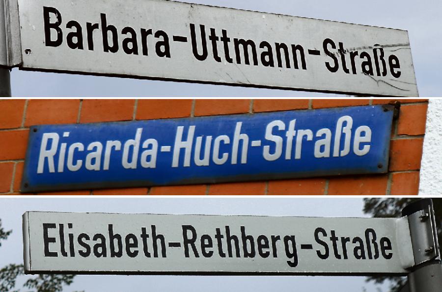 Ein seltenes Bild: Straßenschilder mit Frauennamen in Lauter, Aue und Schwarzenberg (von oben).