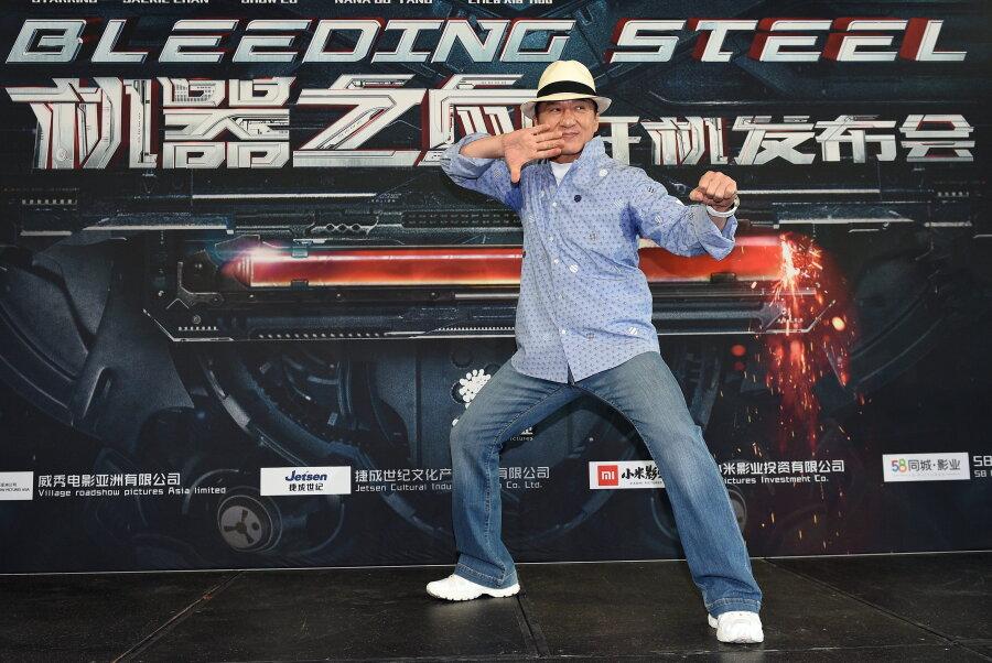 """Schauspieler Jackie Chan stellt den Film """"Bleeding Steel"""" vor. An rund 200 Filmen hat er nach eigenen Angaben schon mitgewirkt."""