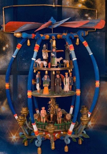"""<p class=""""artikelinhalt"""">Eine Deckenpyramide vom Ende des 19. Jahrhunderts - etagenweise mit Paradies-, Krippen- und Schäferszene - wird ein schönes Detail der """"Ströherschen Sammlung"""" sein. Sie soll ab 2009 gezeigt werden.</p>"""