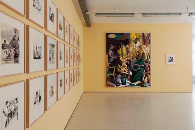 """Blick in die Ausstellung """"Vorder Mittel Hintergrund: Hartwig Ebersbach - Stefan Guggisberg - Neo Rauch"""" in Aschersleben."""