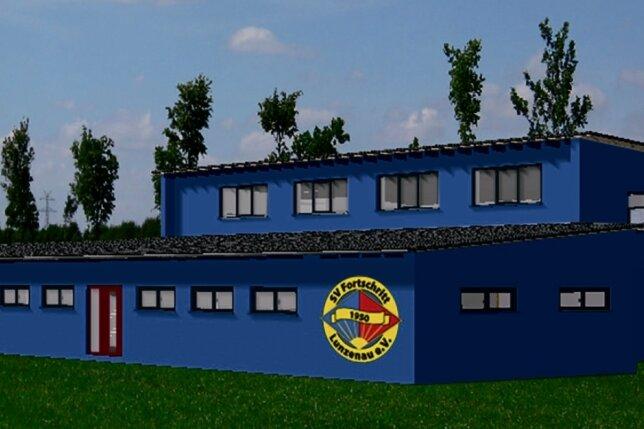 So soll das neue Multifunktionsgebäude in Lunzenau aussehen. Unter anderem wird es eine Sporthalle bieten, vier Umkleidekabinen, ein Vereinsbüro sowie einen Versammlungsraum für den SV Fortschritt Lunzenau.
