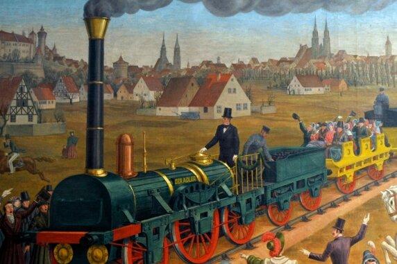 """<p class=""""artikelinhalt"""">Das Neue - bejubelt und gefürchtet: die erste Eisenbahnfahrt mit der Dampflokomotive Adler 1835. </p>"""