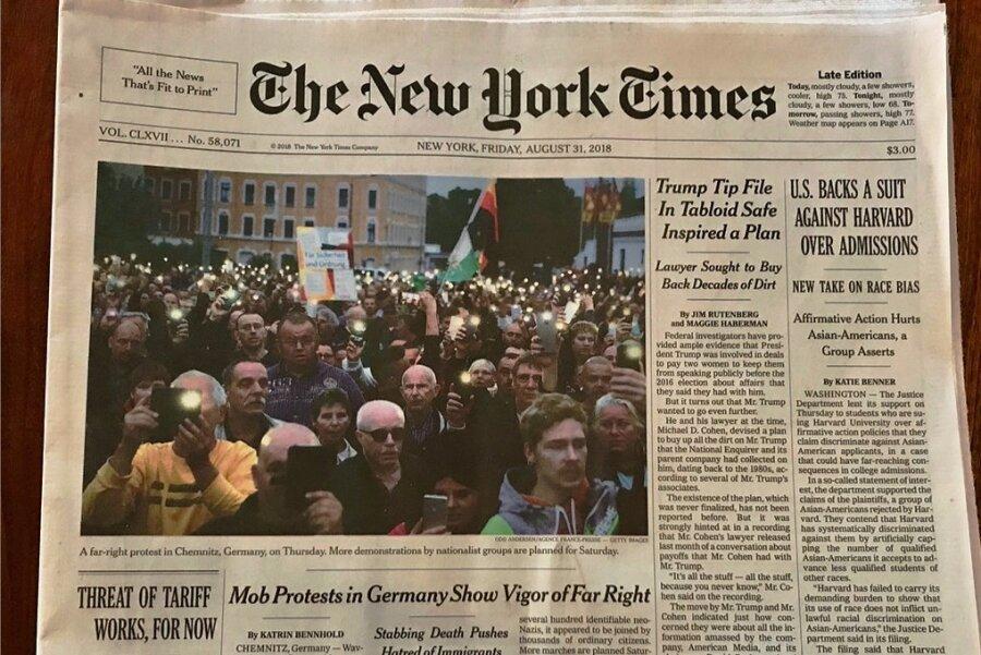 """""""Rechtsextremer Protest in Chemnitz, Deutschland"""": So berichtete die New York Times."""