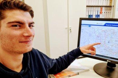 Sebastian Baier sammelt neben seinem Studium Erfahrungen im Chemnitzer Unternehmen Wuttke. Er erstellt unter anderem Karten, die den persönlichen Bewegungsradius abbilden.